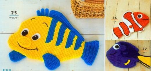 Коврики-рыбки крючком для детских игр (3)