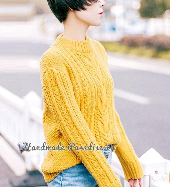 Красивый пуловер спицами узором из кос (4)
