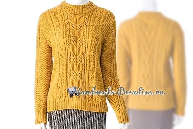 Красивый пуловер спицами узором из кос (5)