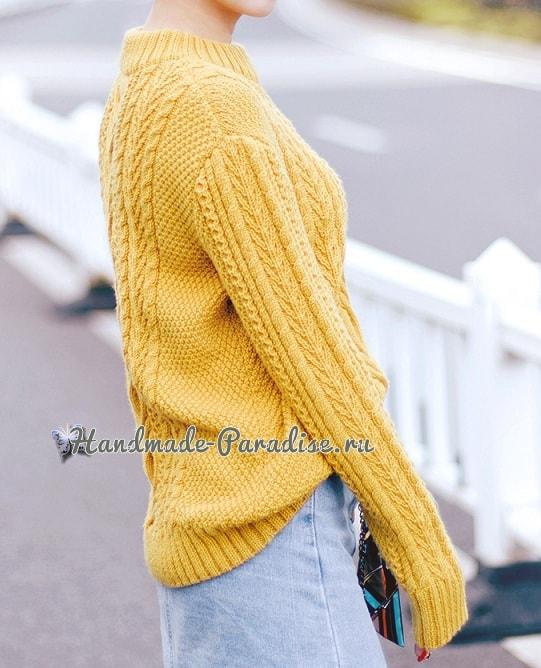 Красивый пуловер спицами узором из кос (6)