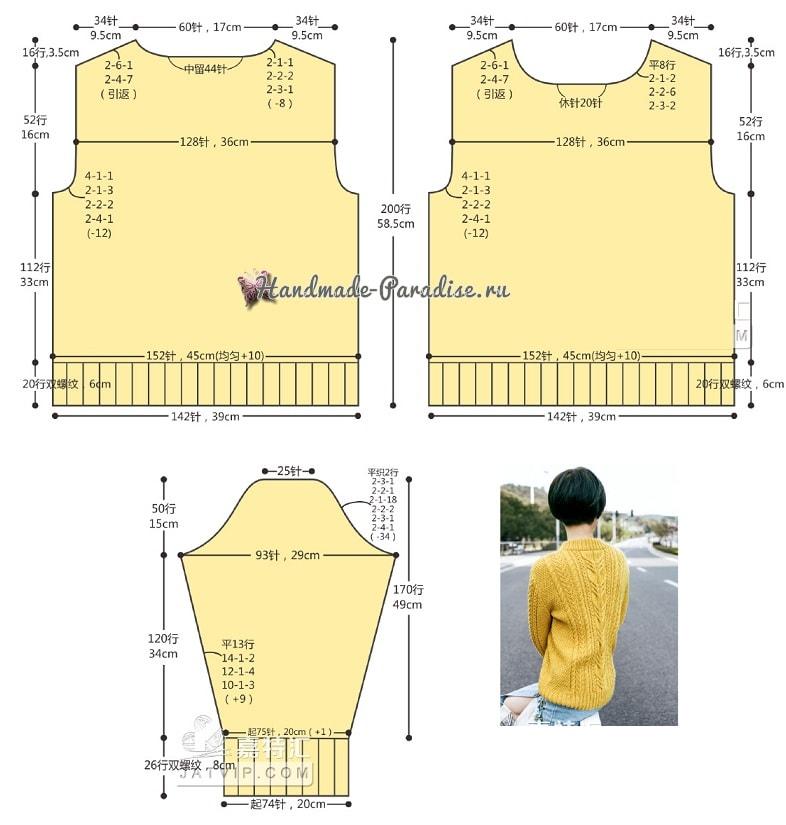 Красивый пуловер спицами узором из кос (7)