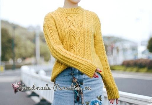 Красивый пуловер спицами узором из кос (8)