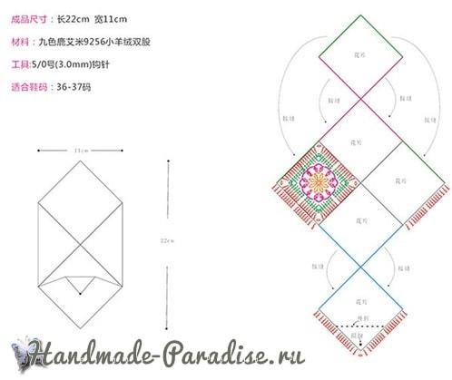 Теплые тапочки из вязаных квадратов (1)