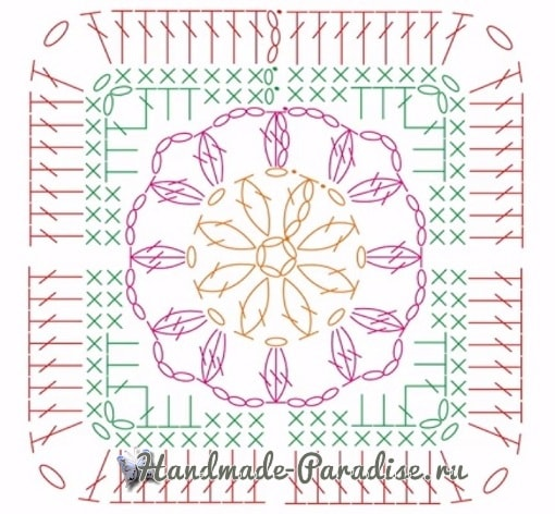 Теплые тапочки из вязаных квадратов (3)