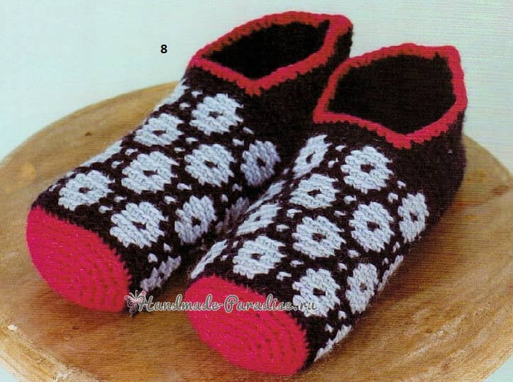 Теплые тапочки-носочки крючком. Схемы (1)
