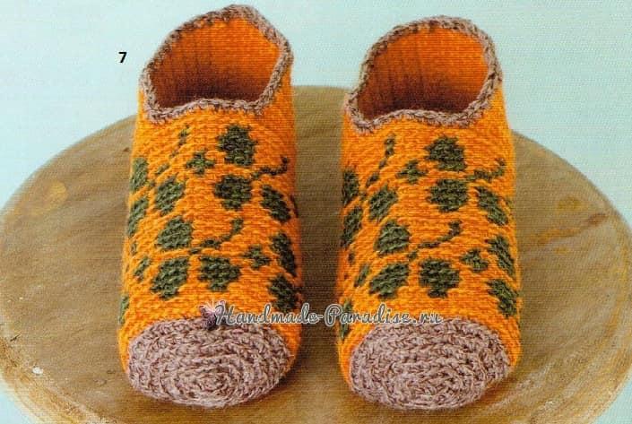 Теплые тапочки-носочки крючком. Схемы (2)
