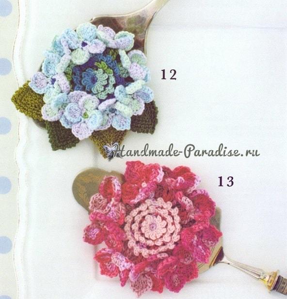 Украшения крючком с цветами гортензии (1)