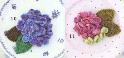 Украшения крючком с цветами гортензии (2)
