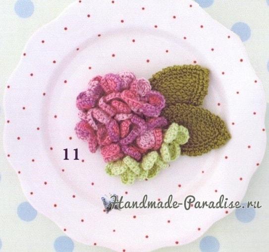 Украшения крючком с цветами гортензии (3)