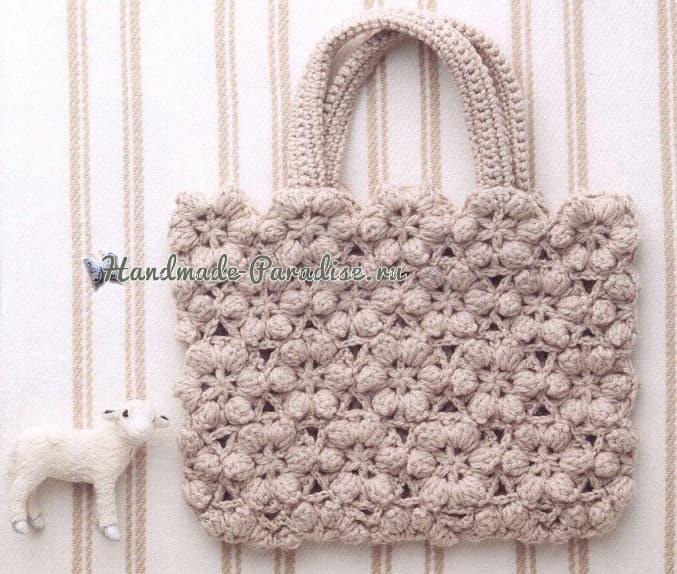 Зимняя сумка безотрывным вязанием цветочных мотивов (1)