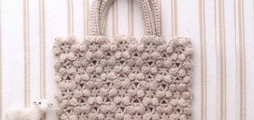 Зимняя сумка безотрывным вязанием цветочных мотивов (2)