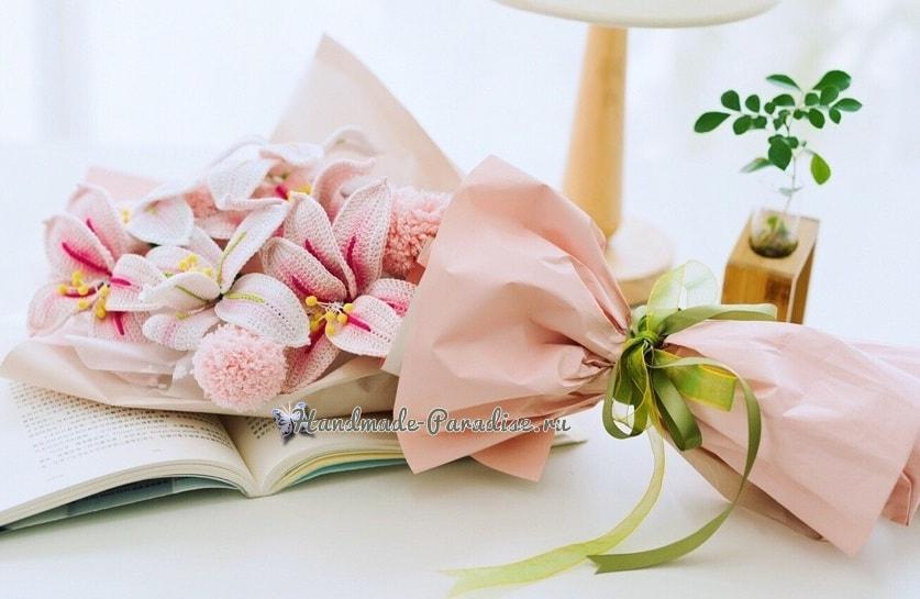 Букет вязаных крючком лилий в подарок (1)