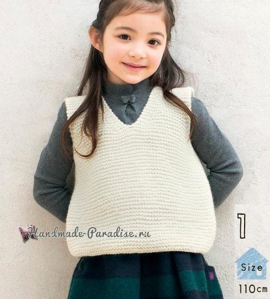 Детская теплая безрукавка спицами. Схемы (1)