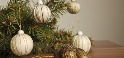 Елочные игрушки из желудей и деревянных бусин (1)
