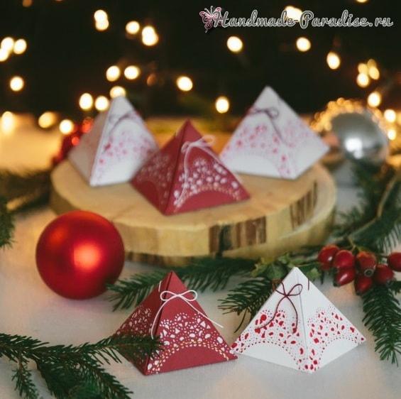 Коробочки-пирамидки для подарка своими руками (9)