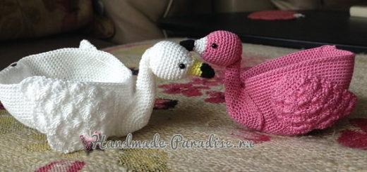 Кошельки «Лебеди» крючком. Схема вязания (2)