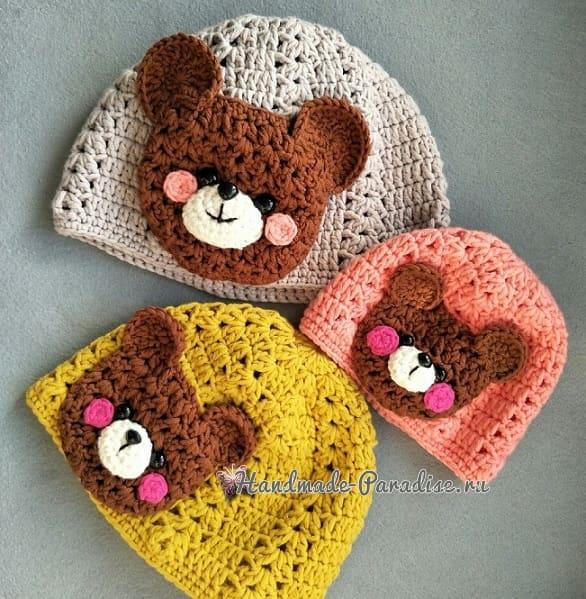 Крючком. Детская шапочка и шарфик с мишками (1)