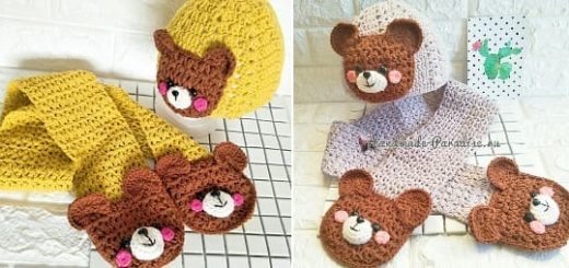 Крючком. Детская шапочка и шарфик с мишками (2)