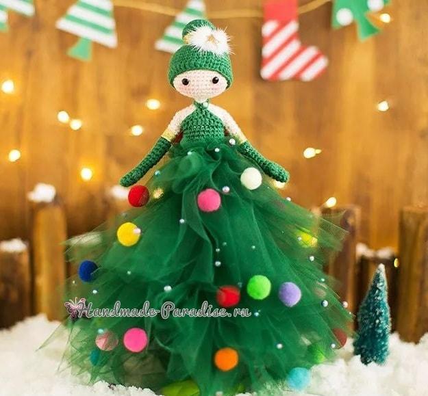 Куколка Новогодняя Елочка амигуруми (1)