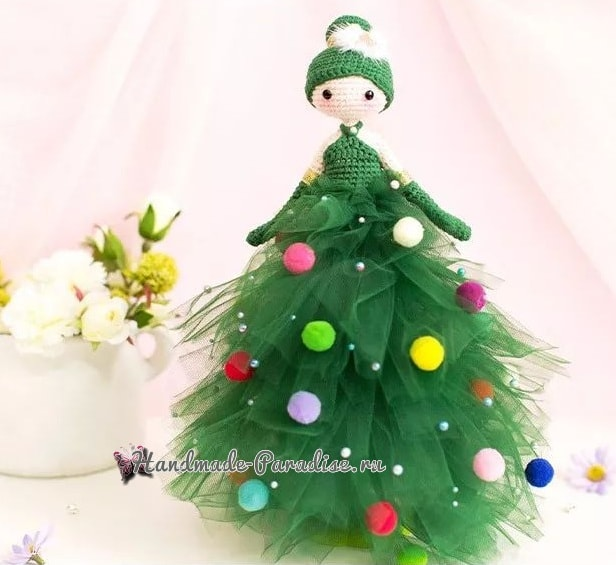 Куколка Новогодняя Елочка амигуруми (4)