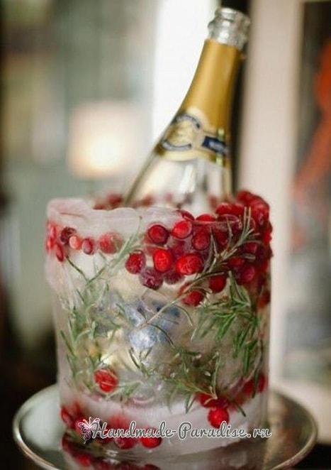 Ледяной рождественский венок из природных материалов (1)