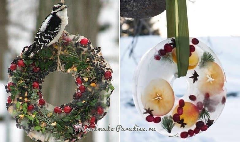 Ледяной рождественский венок из природных материалов (4)