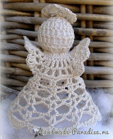 Маленький рождественский ангел крючком