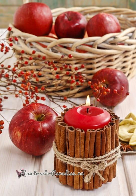 Новогодние свечи с палочками корицы (1)