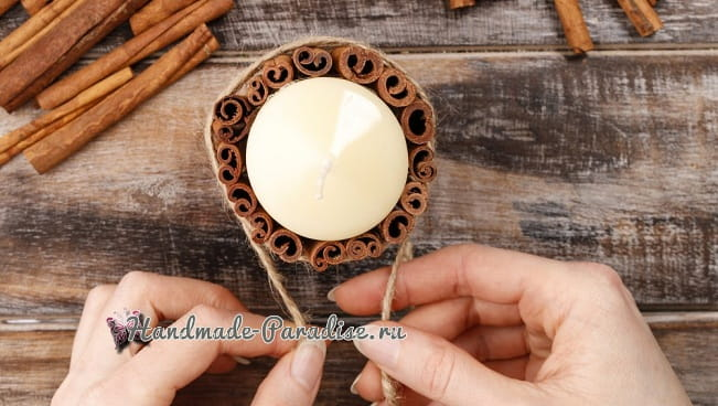 Новогодние свечи с палочками корицы (4)