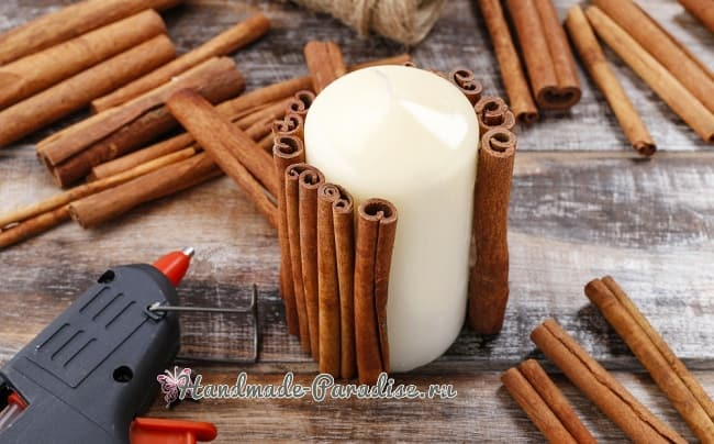 Новогодние свечи с палочками корицы (5)