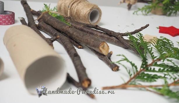 Новогодняя елочка в экостиле из палочек (2)