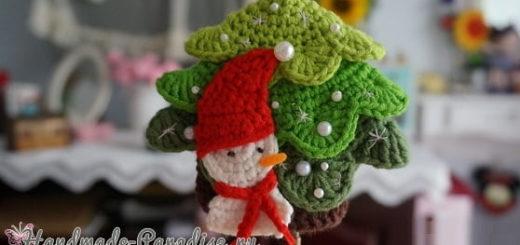 Подвеска крючком «Елочка и снеговик» (7)