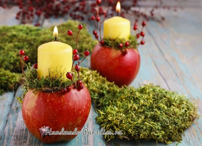 Рождественские свечи с яблочными подсвечниками (12)