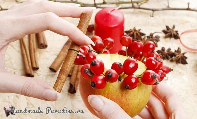 Рождественские свечи с яблочными подсвечниками (2)