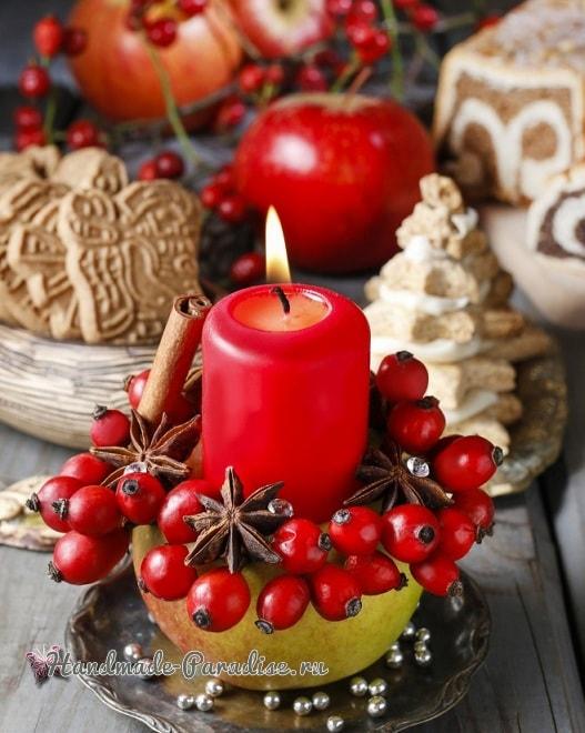 Рождественские свечи с яблочными подсвечниками (4)