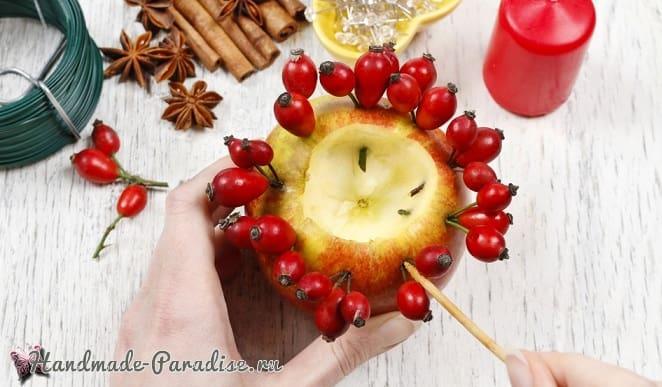 Рождественские свечи с яблочными подсвечниками (6)