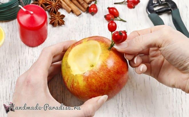 Рождественские свечи с яблочными подсвечниками (8)