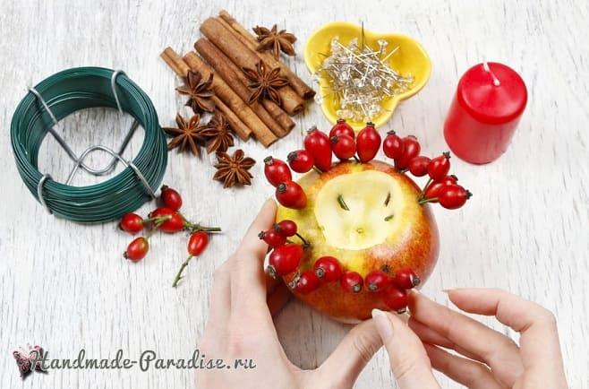 Рождественские свечи с яблочными подсвечниками (9)