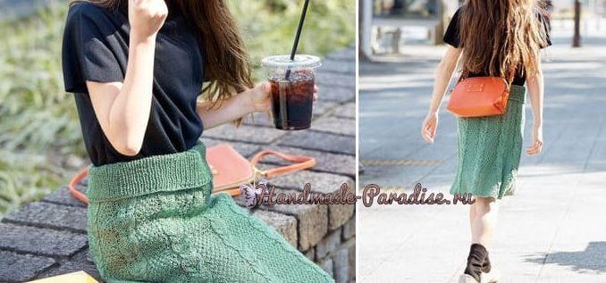 Теплая юбка спицами для девочки