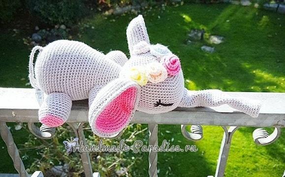 Вязание крючком игрушки - слоника-сплюшки (7)