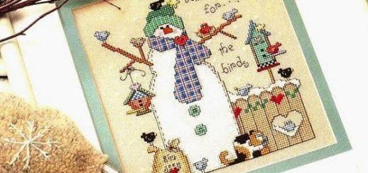 Зимняя вышивка. Снеговики