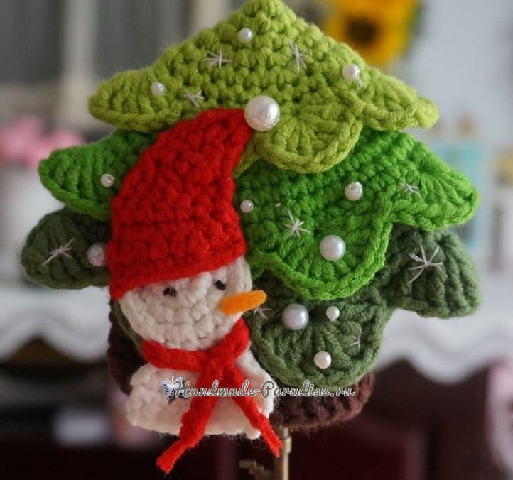 Подвеска крючком «Елочка и снеговик» (6)