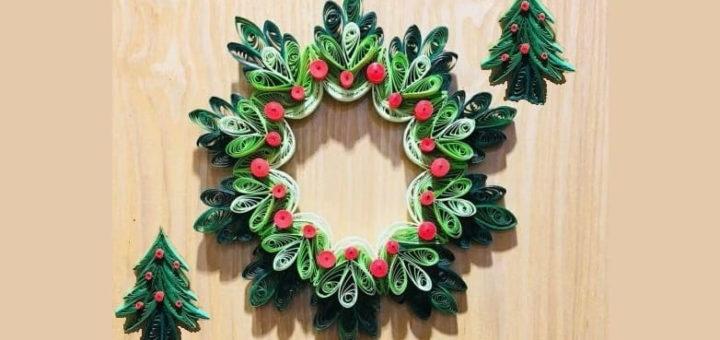 Рождественский венок и елочка в технике квиллинг (2)