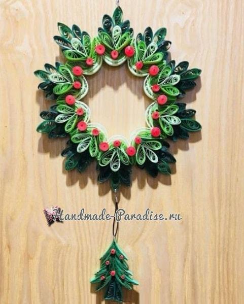 Рождественский венок и елочка в технике квиллинг (7)