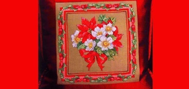 Вышивка крестом. Подушка с рождественскими звездами (2)
