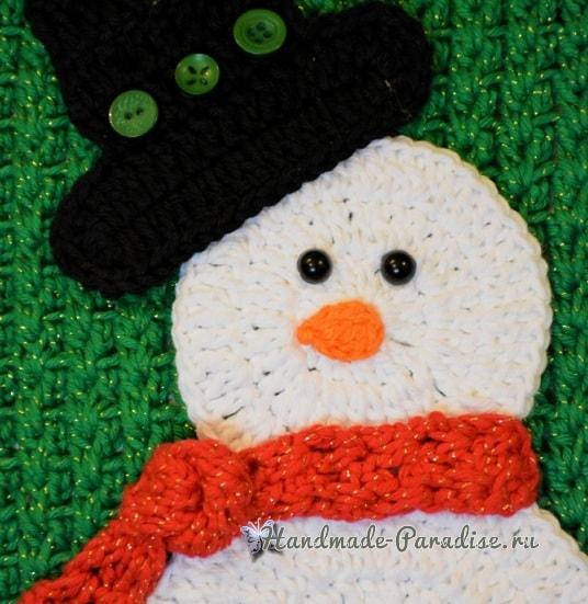 Зимняя вязаная подушка со снеговиком (2)
