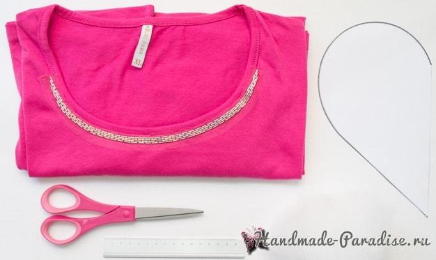 Бесшовная сердечная подушка из футболок (2)