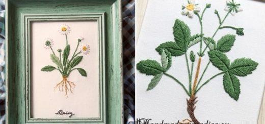 Ботаническая вышивка. Полевые ромашки