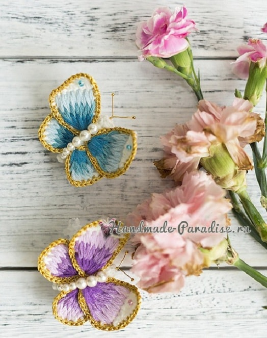Брошь «Бабочка» крючком с вышивкой (3)