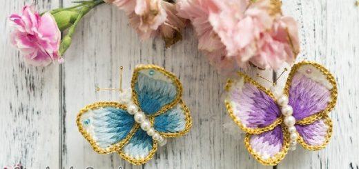 Брошь «Бабочка» крючком с вышивкой (4)